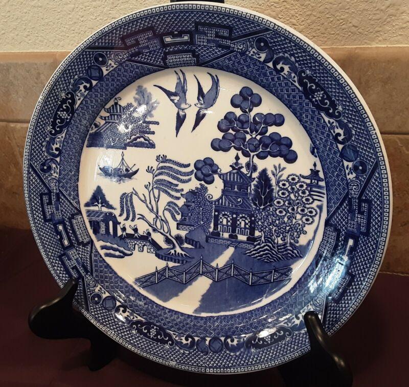 1922 Buffalo China blue willow pattern charger plate