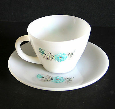 Fire King Oven Ware BONNIE BLUE CARNATION CORN FLOWER Tea Cup Saucer VTG FREE SH