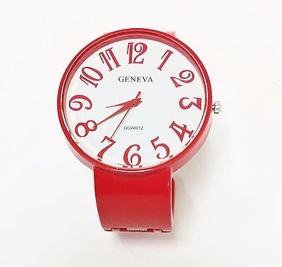 NEW-GENEVA BRIGHT RED METAL BANGLE,CUFF WHITE LARGE ARABIC NUMBER DIAL (Bright White Dial)