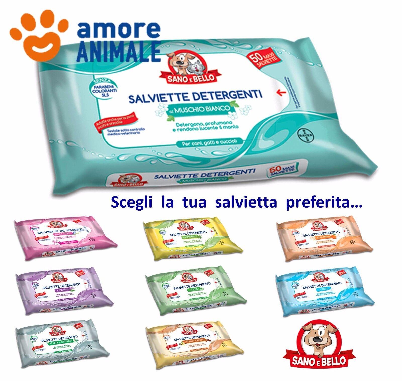 Salviette Detergenti Bayer Sano e Bello - confezione da 50 pz. per cani e gatti