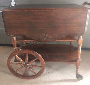 Antique Drop Leaf Walnut Tea Wagon