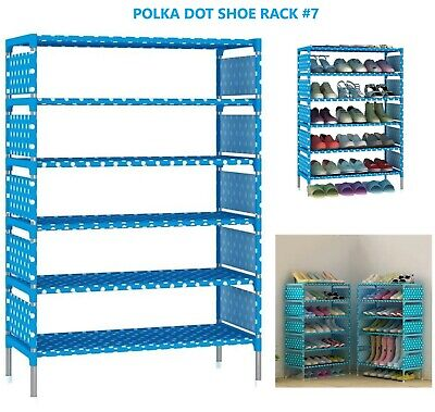 Blue Polka Dot Canvas Non-Woven Fabric Multi-Layer 7 Tier Shoe Rack Organizer