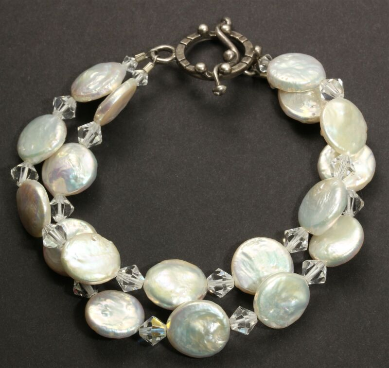 Sterling Silver Handmade 2-Strand Cultured Pearl & Crystal Bead Toggle Bracelet