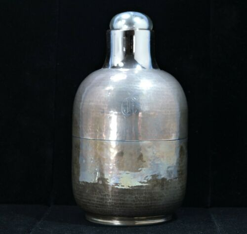 Lebolt Art Deco Sterling Silver & Glass Thermos Circa 1930s