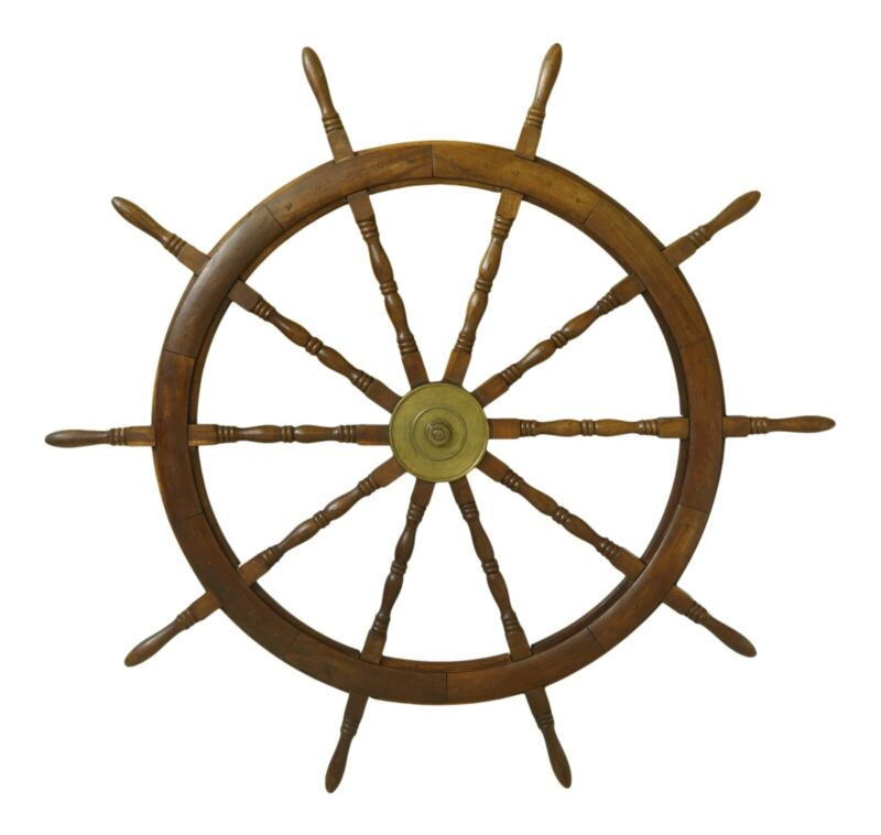 F46621EC: Antique Nautical Ships Wheel