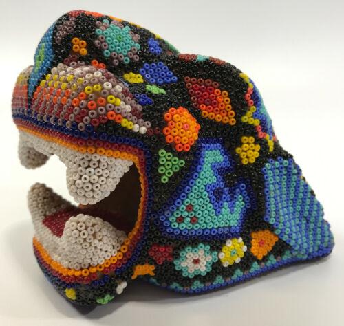 Handmade Huichol Beaded Wood Cat Jaguar Head Ethnic Handmade Mexican Folk Art