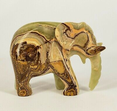 Stone Elephant Carving (Green Onyx?)