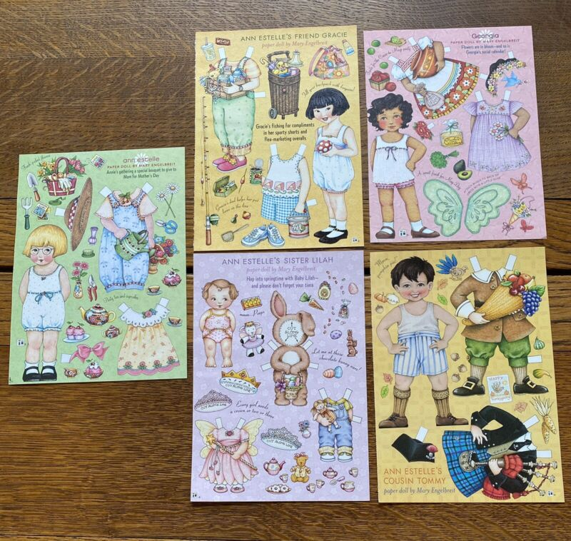5 Mary Engelbreit Paper Dolls from Magazine Ann, Lilah, Gracie, Georgia, Tommy