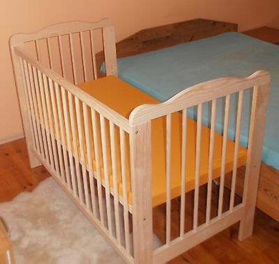 Beistellbett Babybett Giterbett 2 in1 Kinderbett Massivholz-Schadstofffrei NEU !