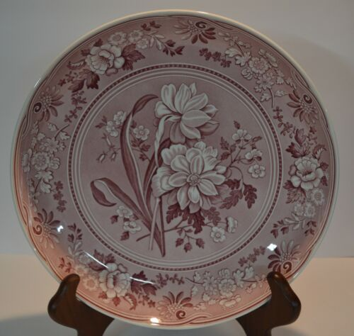 "Spode ARCHIVE COLLECTION GEORGIAN SERIES (Pink) Cake Plate 12"" (botanical)"