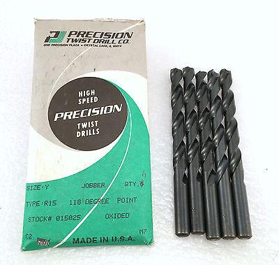 """6 new GREENFIELD 7//16/"""" Jobber Length HD 135*S//PT Twist Drill Bits black oxide"""