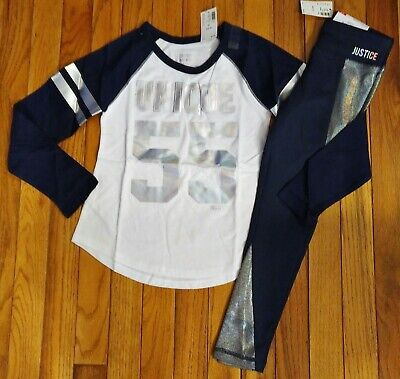 Girls Football Outfits (NWT Justice Girls Outfit Unique Football Top/Leggings Size 6)
