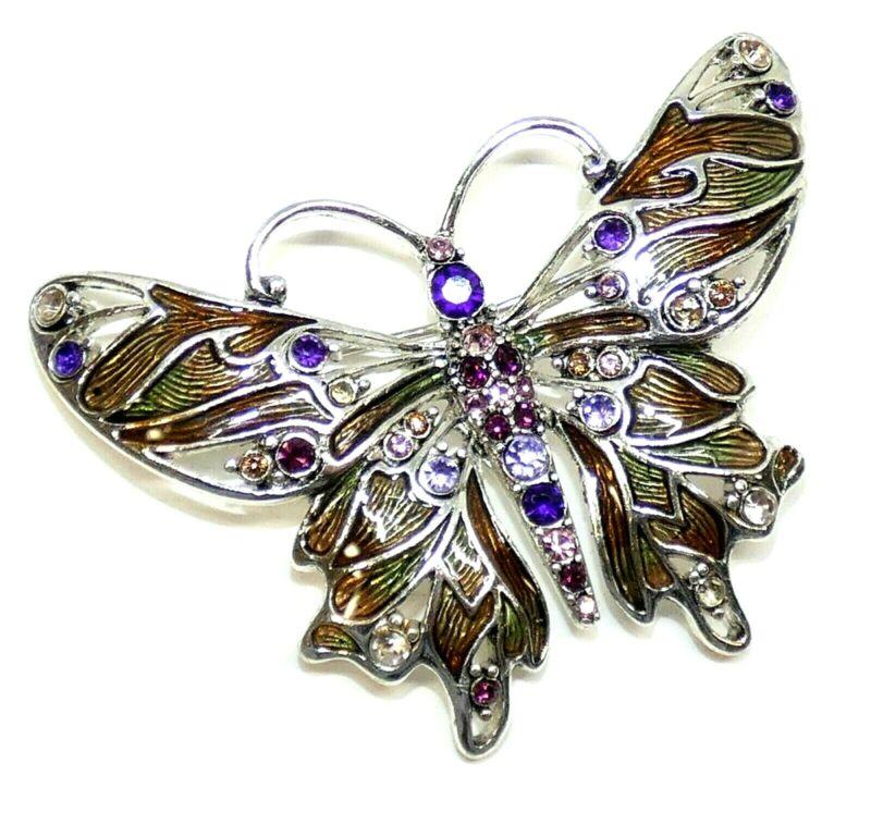 Vintage Monet Brooch Pin Enamel Rhinestone Butterfly Silver Tone
