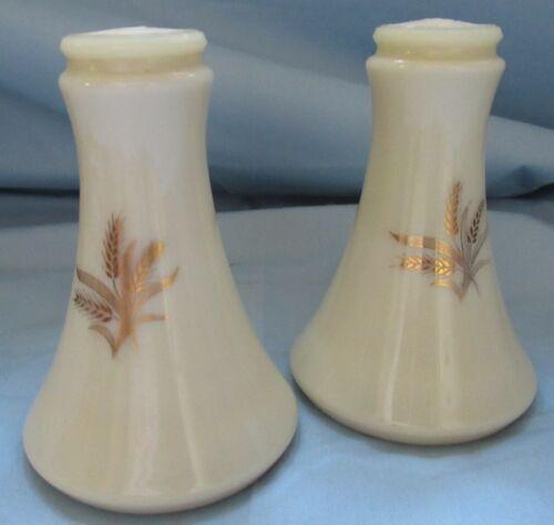 Vintage Gold Wheat Salt Pepper Shakers Milk Glass Plastic Lids