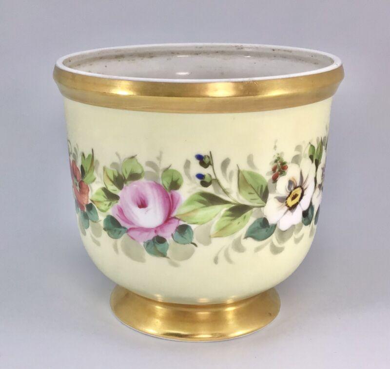 Porcelain Floral Hand Painted Vista Alegre VA Portugal Jardiniere Cachepot