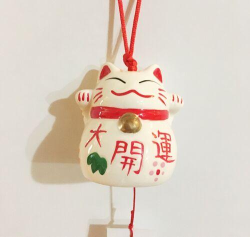 Japanese Porcelain Lucky Cat Maneki Neko Wind Chime for Lots of Luck