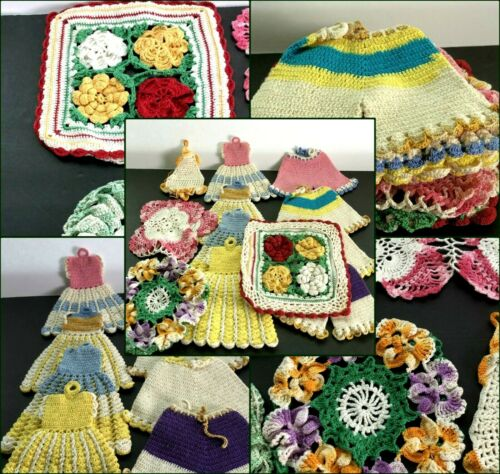 13 Vintage Hand Crochet DRESS & BLOOMERS Potholders and Bright Color Doilies