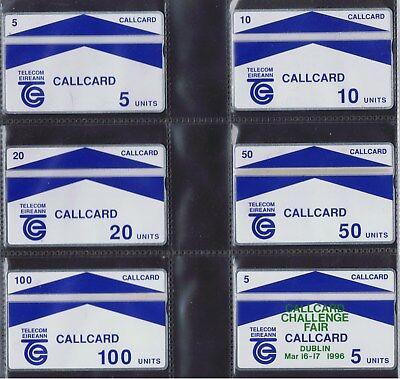 Ireland Galway Trial 5u 10u, 20u, 50u & 100u  Callcard mint set 1989 + 1995 Fair