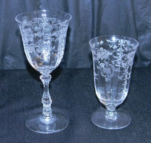 2 Fostoria Clear Crystal Etched Wine GlassesGoblets