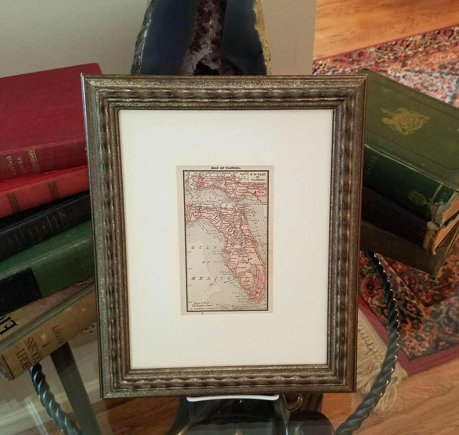 Framed Original 1887 Antique Map of Florida