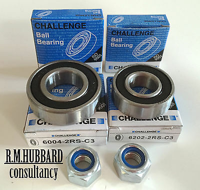 4 Challenge wheel bearings & 2 Nylok nuts for Erde 122 & similar trailers.