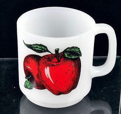 Vintage White Milkglass Glasbake D Handle Apple Mug