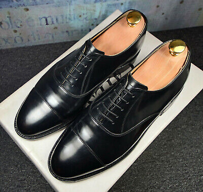 Barker Oxford Toecap  Black Leather Laceup Shoes Size 7 UK Fit E Narrow Fit for sale  Shipping to Nigeria