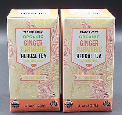 🌺Trader Joe's ORGANIC GINGER TURMERIC HERBAL TEA 2 Boxes