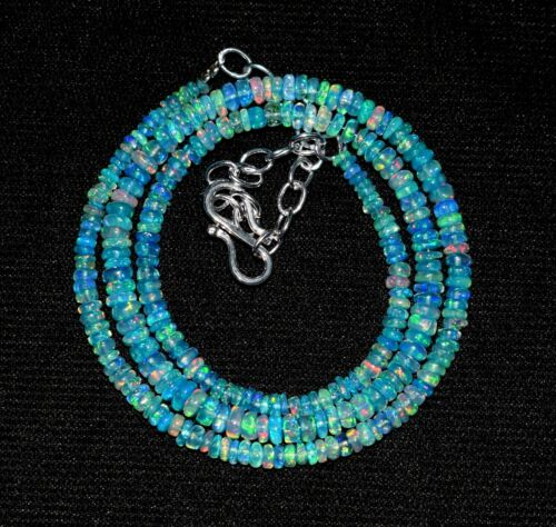 "32Crt 16""Natural Ethiopian Blue Opal Welo Fire Opal Gemstone Bead Necklace S0220"