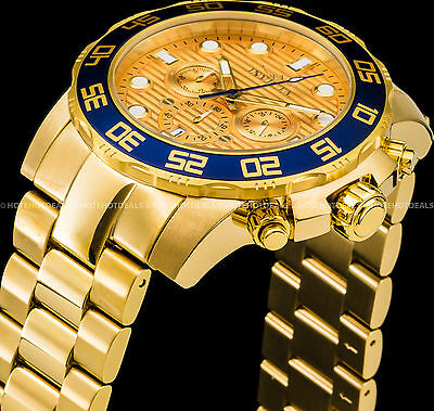 Invicta 50mm Mens Pro Diver VD53 Chronograph Blue Bezel 18K Gold Plated SS Watch