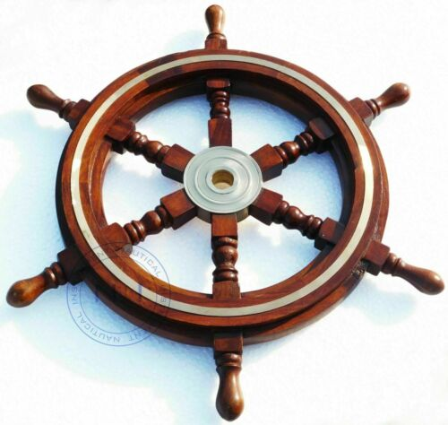 """Collectable Vintage Brass Wooden Ship Wheel Pirate Captain Boat Steering 18"""" New"""