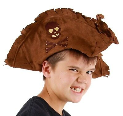 Jack Sparrow Tattered TRI-CORN PIRATE of the Caribbean Child HAT Brown, used for sale  Shipping to Canada