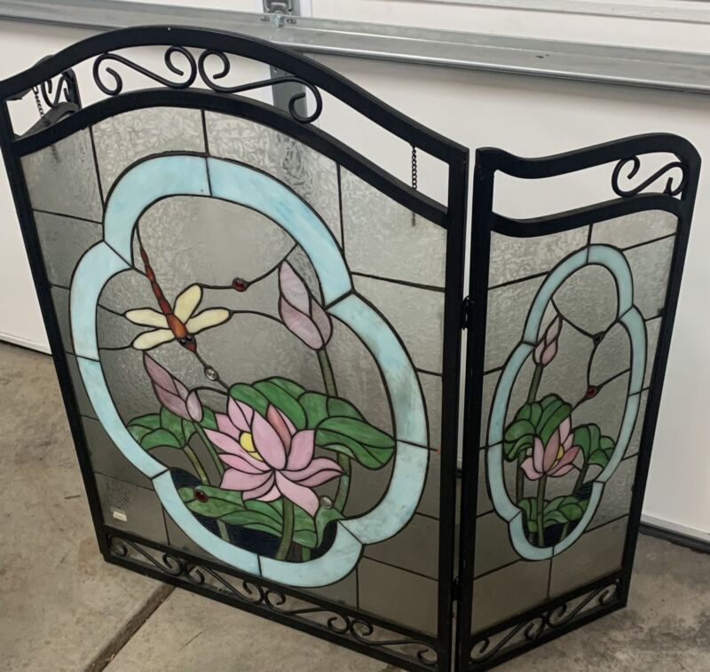 Fireplace Screen Tiffany Style Stained Glass 3 Section Hummingbird