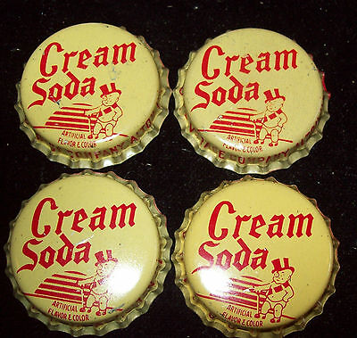 Lot of 4 Vintage Duke Cream Soda Unused Soda Pop Bottle Caps Top Hat Baby