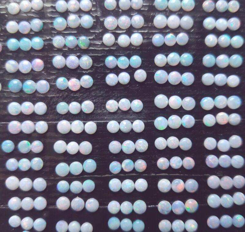 Lot of 50 pieces 3 MM Round Round Cabochon AUSTRALIAN OPAL NATURAL GEMSTONE