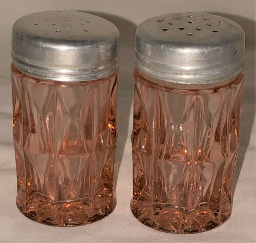 "Jeannette WINDSOR PINK *3"" SALT & PEPPER SHAKERS*#1*"