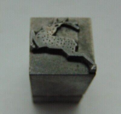 Vintage Printing Letterpress Printers Block Lead Deer With A Rack