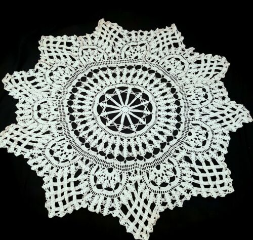 7 Pc Vintage Round Doilies Centerpiece Table scarf Assorted 30 inch