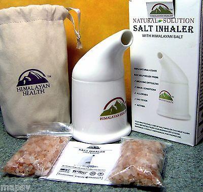 Himalayan Salt Inhaler & 2 refills & Bag Asthma COPD Allergies Sinusitis Snoring