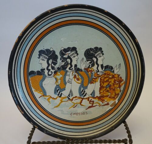 ULbx ANCIENT GREEK MINOAN REPRODUCTION PLATE OF KNOSSOS DESIGN, 3 LADIES