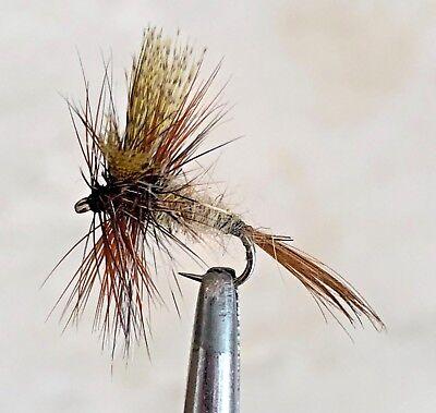 12 Artflies Vinyl Back Caddis Larva Flies #10-12-14-16, Green PN2112
