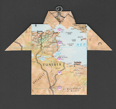Origami Map Shirt Tunisia, Tunis, Annaba, Tarabulus, Tripoli, Malta, Italy image