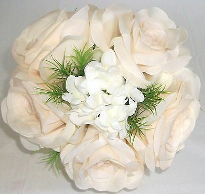 Ivory Roses, Freesia & Stephanotis Silk Wedding Bridal  Bouquet ( Toss )