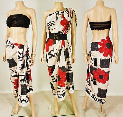Burberry Red Black Cotton Nova Check Floral Print Oversized Scarf/Wrap/Sarong