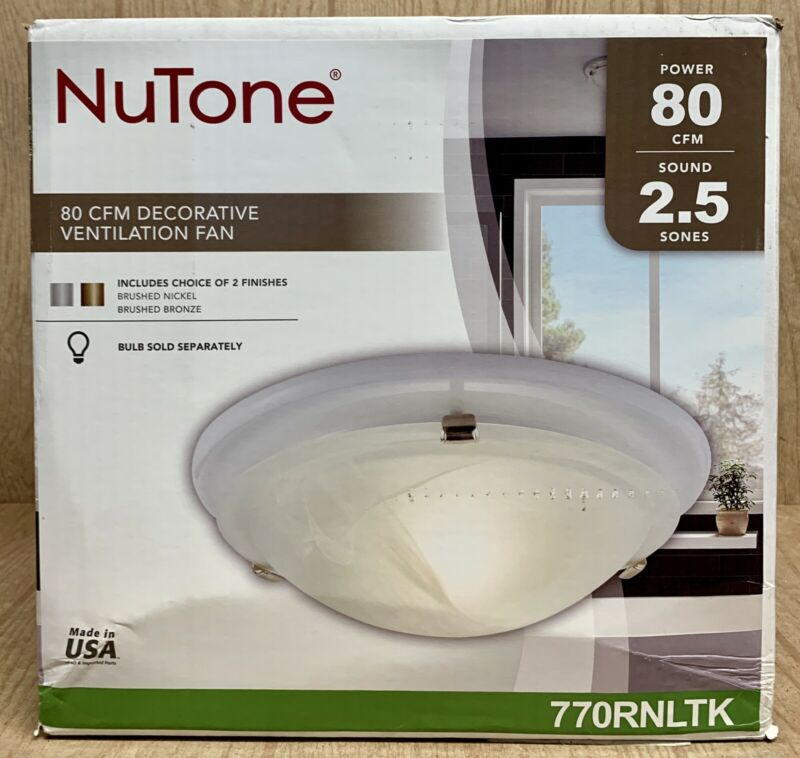 NuTone 770RNLTK Brushed Nickel Or Brnz 80 CFM Ceiling Bathroom Exhaust Fan Light