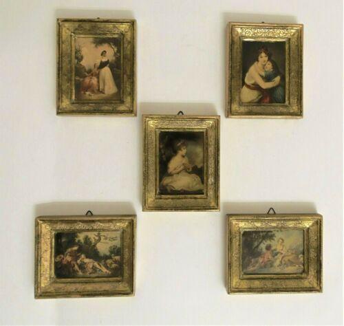 """Italian Wood FLORENTINE Gold Gilt Framed Prints 4"""" Set Of 5 Vintage"""