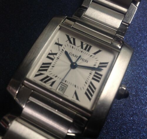 Large Cartier Tank Francaise Stainless Steel Automatic Watch