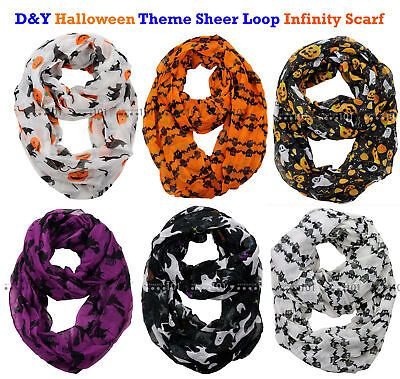 NEW! D&Y Halloween Theme Sheer Loop Infinity Scarf / Choose Your Theme!](Halloween Scarf)