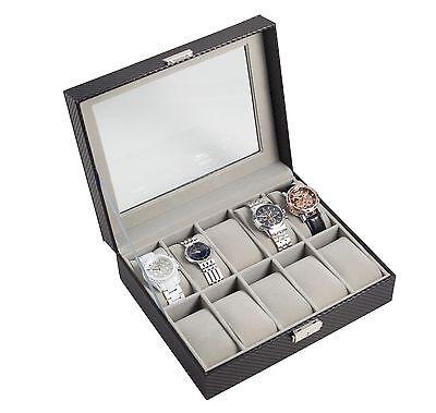 10 Slot Carbon Fiber Watch Box Jewelry Display Storage Case with Lock, Key New