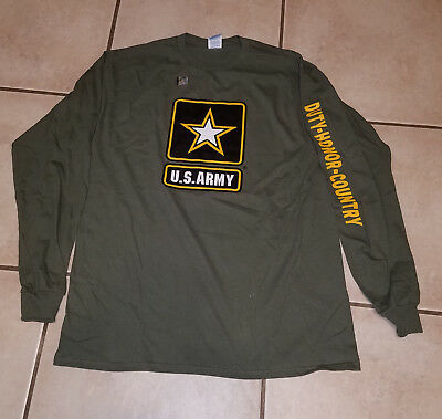 US Army Strong Honor Duty Country Military Green Long Sleeved Adult T-Shirt Adult Army Green T-shirt